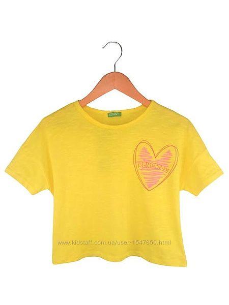 Стильная желтая укороченная футболка на девочек, Benetton
