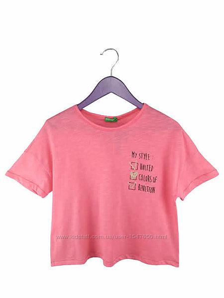 Стильная укороченная футболка на девочек, Benetton