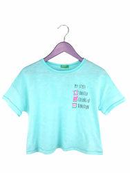 Стильная бирюзовая укороченная футболка на девочек, Benetton
