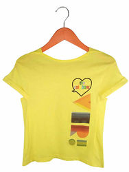 Стильная желтая футболка на девочек, Benetton