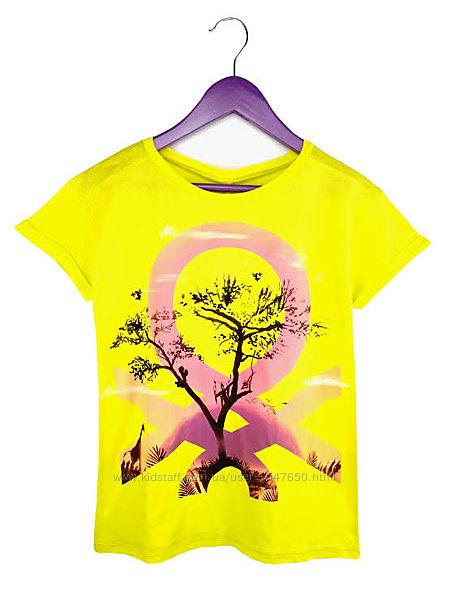 Стильная яркая футболка на девочек, Benetton