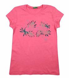 Стильная розовая футболка на девочек, Benetton