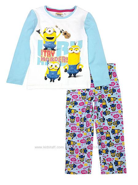 Стильная легкая хлопковая пижама с миньоном на девочек Illumination Minions