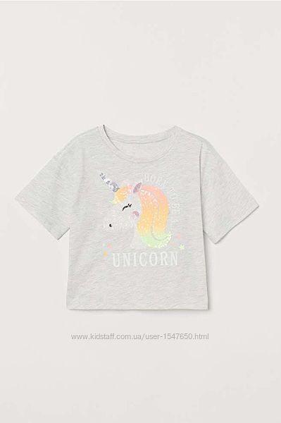 Укороченная футболка с пайетками, единорогом на девочек р. 158-164, H&M