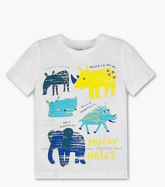 Белоснежная футболка с ярким принтом на мальчика, Palomino, C&A