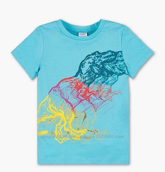 Голубая футболка с динозаврами на мальчика, Palomino, C&A