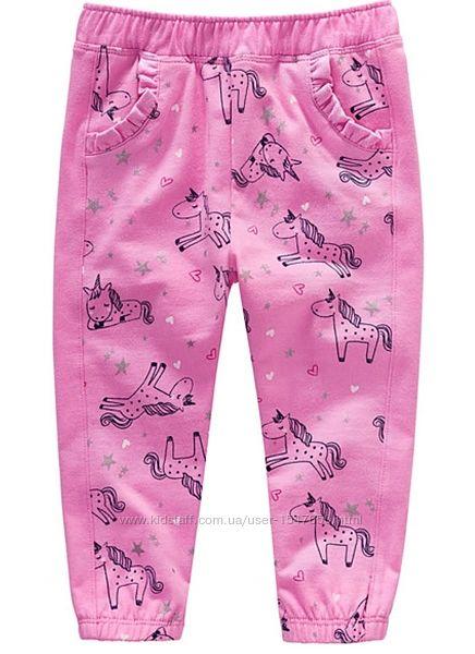 Стильные розовые штаны с единорогами на девочек 74 - 92 р. Topomini Topolino