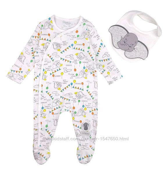 Комплект человечек и слюнявчик для малыша, пижама, слип, Disney baby