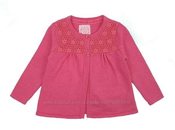 Стильная розовая кофта на пуговицах для девочек, р. 74 early days, primark
