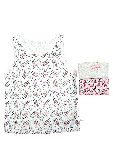 Комплект бельевых маек, майки с единорогами на девочек р. 134, Primark