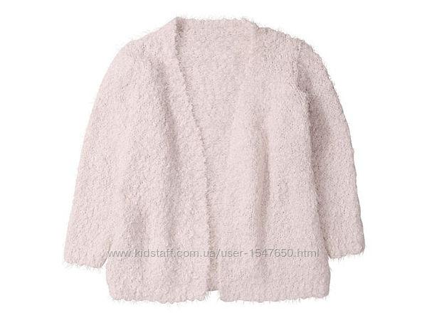 Мягкий розовый кардиган - травка без застежки на девочку, Lupilu