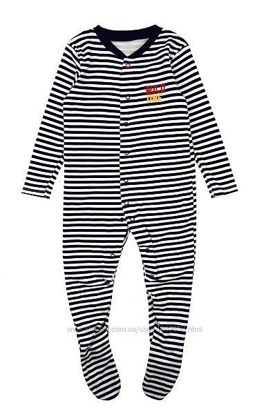 Полосатый хлопковый человечек, пижама слип на мальчика, р. 86, Early days
