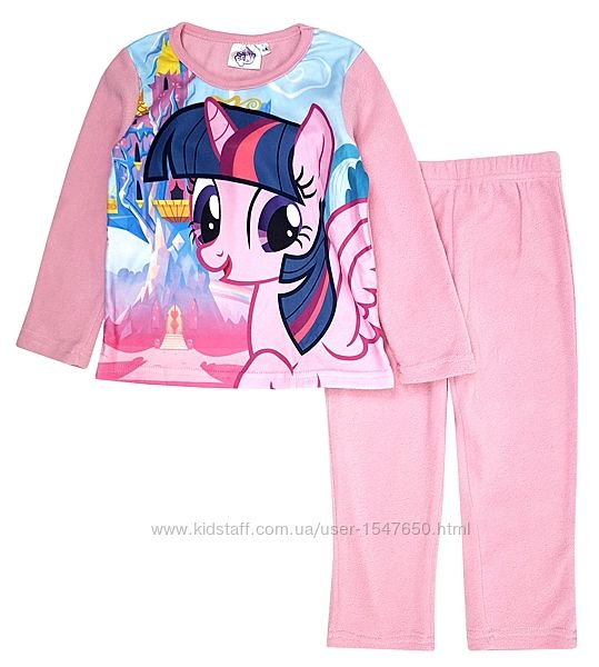 Розовая флисова пижама с пони, My little pony на девочек 3-4 лет, Sun City