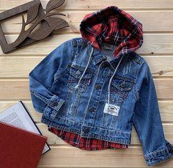 Пиджак джинсовый с капюшоном, куртка джинсовая детская