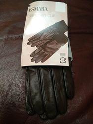 Кожаные перчатки с подкладкой esmara 7, 5 размер.
