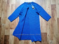 Синий трикотажный кардиган без застежки размер XS, 40-11 Ю