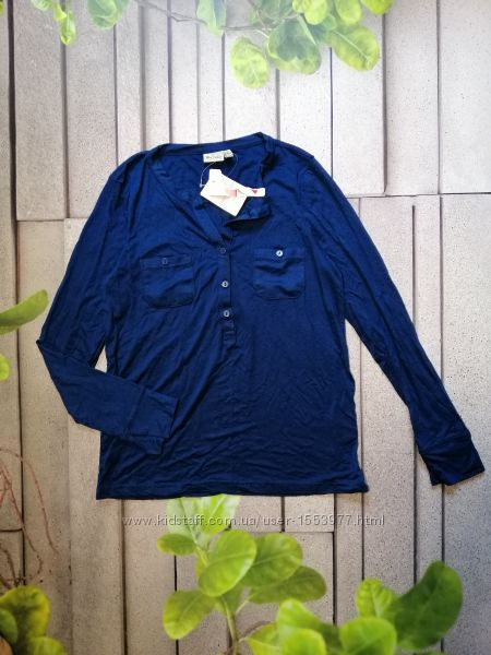 Уценка Синяя повседневная блуза рубашка женская