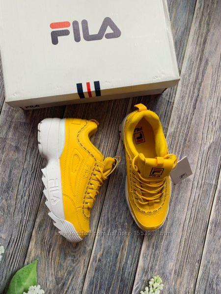 Новые кроссовки реплика Fila женские желтые