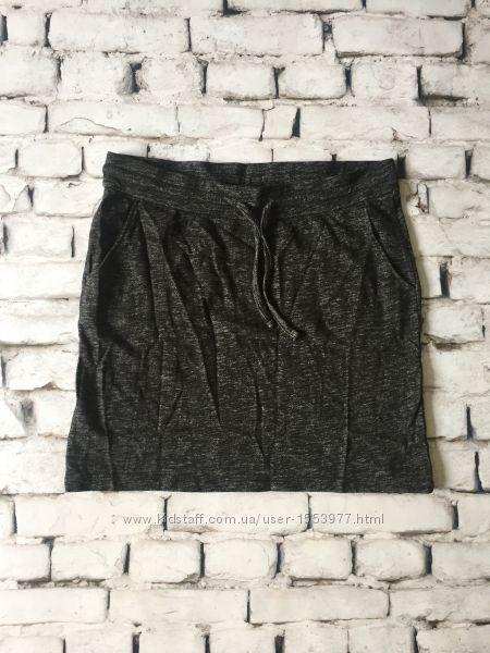 Женская юбка мягкая темно серая с боковыми карманами
