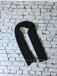 Длинный шарф темно-синий вязаный шарфик плотный