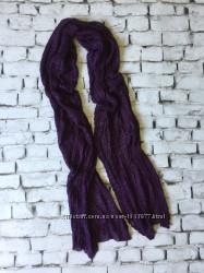 Длинный шарф фиолетовый вязаный шарфик