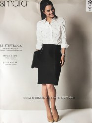 Плотная офисная юбка длины миди прямой крой