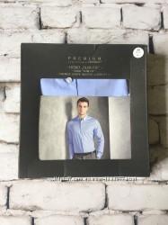 Мужская голубая рубашка премиум класса в подарочной упаковке
