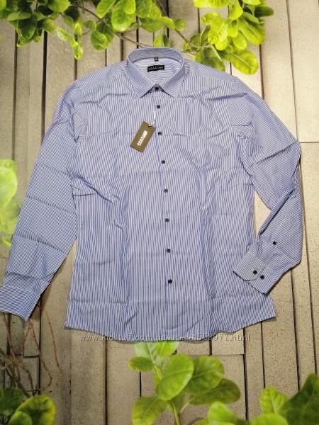 Классическая рубашка в полоску слим фит приталенная