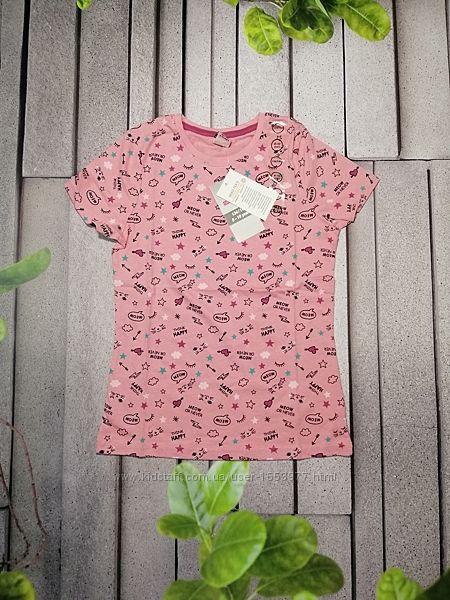 Хлопковая летняя футболочка принтованная для девочки