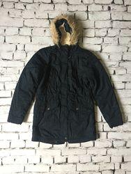 Зимняя парка черная подростковая куртка унисекс теплая
