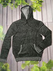 Тонкий свитер с капюшоном худи мужской с карманом