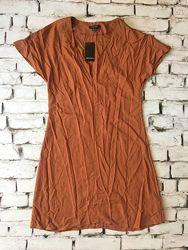 Крутое платье цвета горчица летний сарафан вискозный уценка
