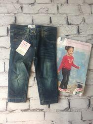 Фирменные теплые джинсы для малышей к регулятором пояса синие