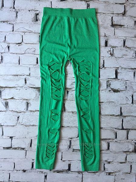 Крутые зеленые леггинсы спортивные лосины one size