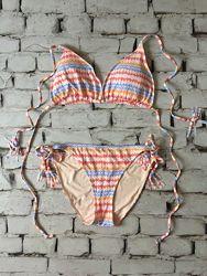 Цветной купальник принт на завязках бикини универсал