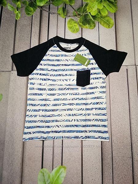Летняя футболка реглан на мальчика в полоску