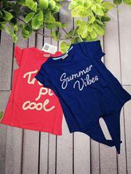 Летние хлопковые футболки на девочку две набором
