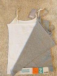 Майки набор 2 изделия на девочку серая и белая