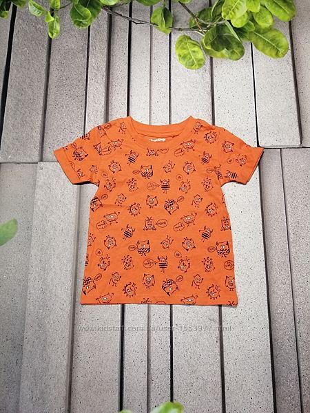 Коралловая футболка для мальчика монстрики хлопок