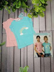 Повседневные футболки для девочки две в наборе розовая голубая