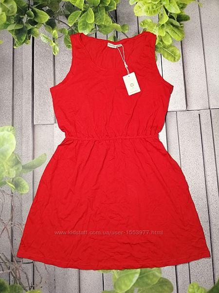 Яркое повседневное платье для лета красное из хлопка