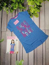 Туника для девочки удлиненная футболка синяя с пайетками