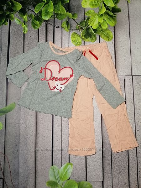 Модный пижамный комплект для девочки лонгслив и брючки