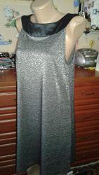 Нарядное серебристое летнее платье трапеция без рукавов м-л
