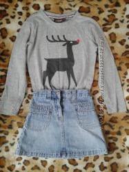 Комплект джинсовая юбка Okaoy реглан 104-116см