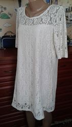 Dorothy perkins молочно-белое ажурное нарядное платье 48-50р