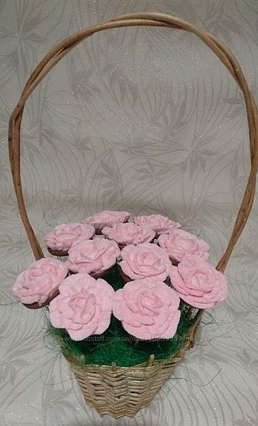 Нежный пряничный букетик роз