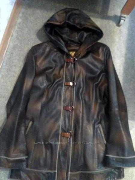 Удлиненная куртка плащ натуральная кожа Турция