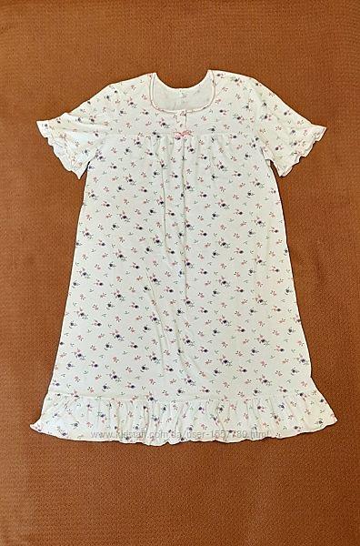 Ночная рубашка женская белая цветочек хлопок трикотаж р54