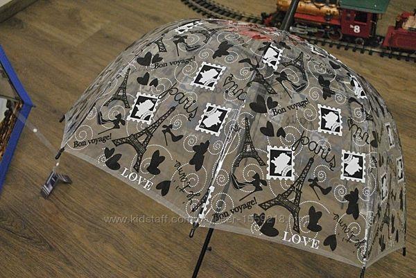 Зонт-трость прозрачный, полуавтомат, силиконовный с принтом